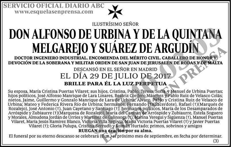 Alfonso de Urbina y de la Quintana Melgarejo y Suárez de Argudín
